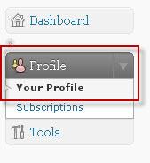 Klicka på Your Profile för att ändra dina användaruppgifter