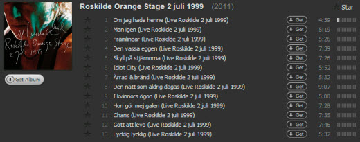 Roskilde Orange Stage 2 juli 1999 på Spotify
