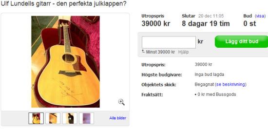 Lägg bud för att vinna Ulf Lundells gitarr