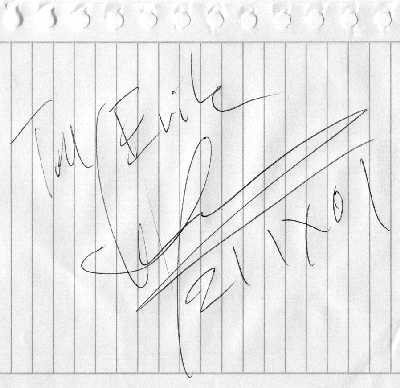 Autograf som hälsning till Erik från Ulf Lundell 2001-09-21