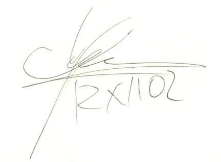 Ett indexkort med Ulf Lundells autograf
