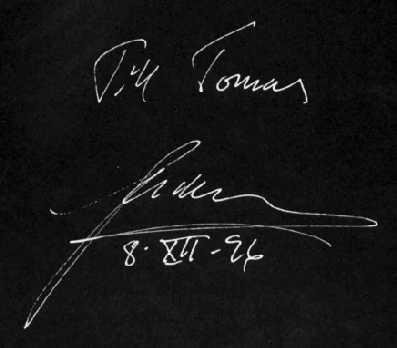 Autograf som hälsning till Tomas från Ulf Lundell