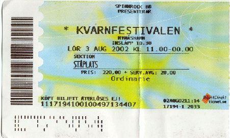 Ulf Lundell Kvarnfestivalen Nynäshamn, sydöst om Stockholm lördagen den 3 augusti 2002