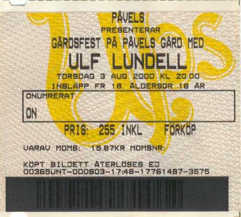 Gårdsfest på Påvels Gård, Uppsala, med Ulf Lundell torsdagen den 3 augusti 2000