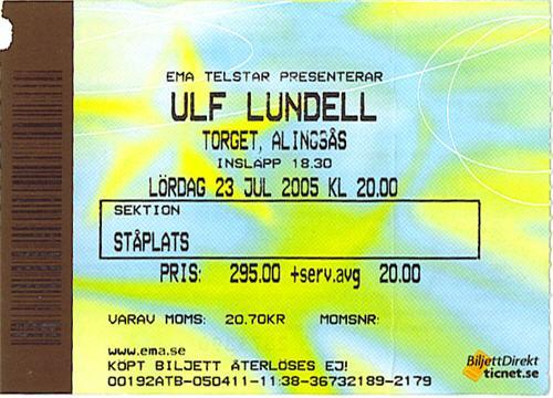 Ulf Lundell i Alingsås, Torget 23 juli 2005