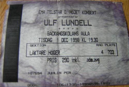 Ulf Lundell på Bäckängskolan, Borås 1 december 1998