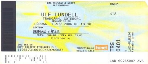 Ulf Lundell på Trädgårdsföreningen, Göteborg 1 april 2006