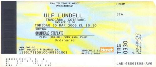 Ulf Lundell på Trädgårdsföreningen, Göteborg 30 mars 2006
