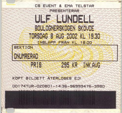 Ulf Lundell i Boulognerskogen, Skövde 8 augusti 2002