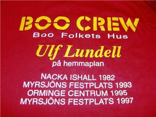 T-tröja som användes av Ulf Lundells crew i Orminge under sommarturnén 1997, bak